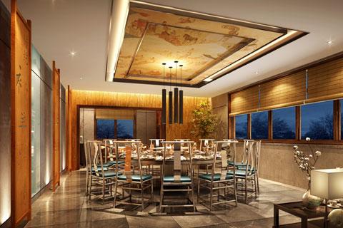 湖北十堰新古典中式餐厅装修--古朴粗犷 神秘优雅