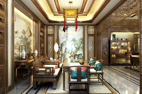 内蒙古包头市某客户古典风格四合院室内中式设计方案