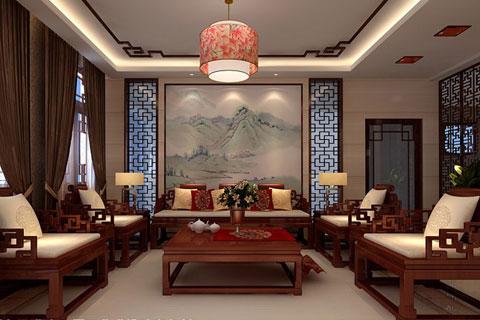 烟台样板间别墅中式装修案例 简洁时尚温馨舒适