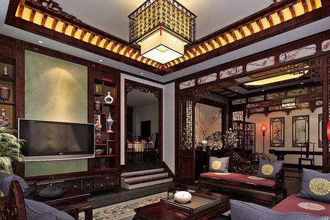 中式别墅四合院设计案例,整套效果古朴典雅